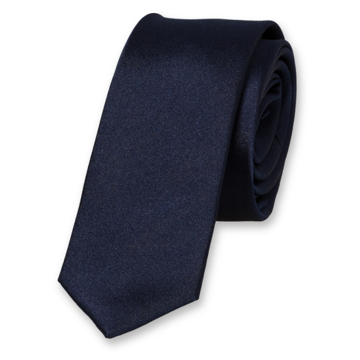 Dark Blue Super Skinny Tie - Satin Silk (1)