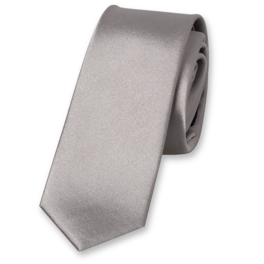 Grey Super Skinny Tie - Satin Silk (1)