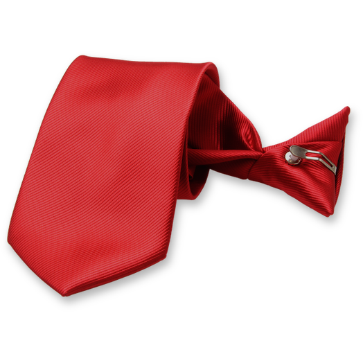 Rib Structure Red clip tie  (1)