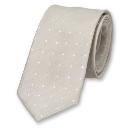 Linen tie beige with dots (1)