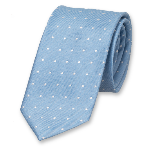 Linen tie light blue with dots (1)