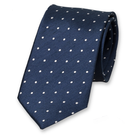 Navy Tie with Dots - Linen (1)