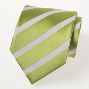 Lime green tie with white stripes